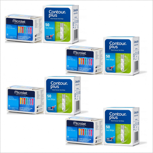 200 Bandelete de testare (4 cutii) + 100 Ace Microlet  (4 cutii)  - Compatibile cu dispozitivele Contour™ Plus si CONTOUR™PLUS ONE