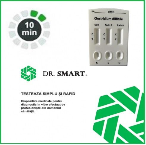 NOU! Test Rapid Combo  Clostridium difficile GDH + Toxina A +Toxina B - casetă  (materii fecale) Kit cu 10 casete test