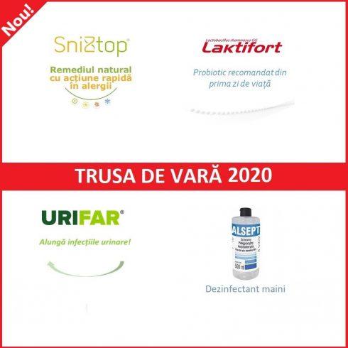 TRUSA DE VARA - 1 cutie Sniztop, 2 cutii Laktifort, 1 cutie Urifar, 1 flacon Alsept