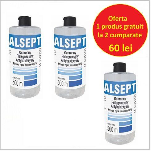Oferta 2+1 Gratis Dezinfectant maini Alsept cu 68% ethanol - 0,5L