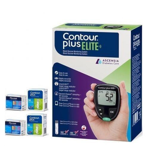 Glucometrul CONTOUR®PLUS ELITE + Bandelete 2 cutii x 50 +50 ace