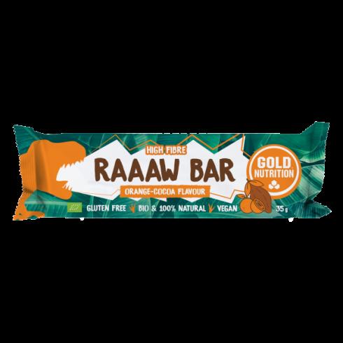 GoldNutrition Baton bio Raaaw bar portocale și cacao 35 gr
