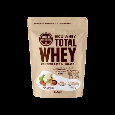 GoldNutrition Total Whey ciocolata alba si alune 260gr