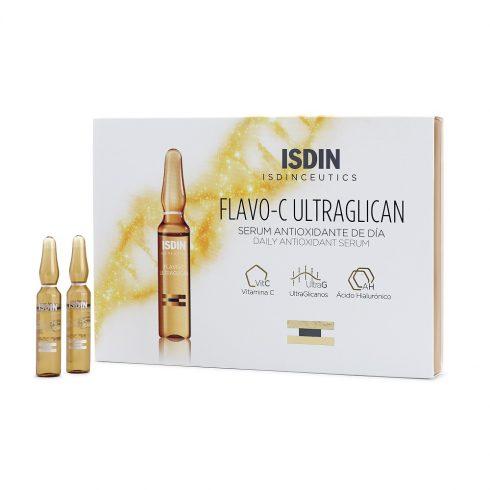 ISDINCEUTICS FLAVO-C Ultraglican Antioxidant fiole 10*2ml + 1 Lotiune micelara Isdin Cadou